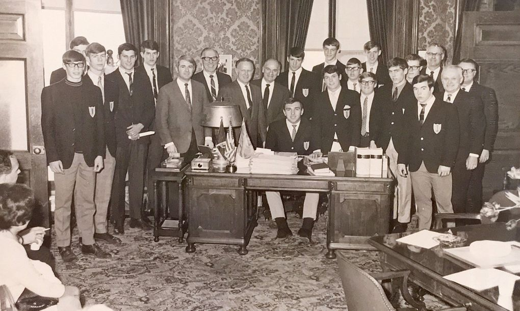 After winning the state title, the 1968-69 Ingraham High School basketball team visited the state Capitol.  (Courtesy of Jay Inslee)