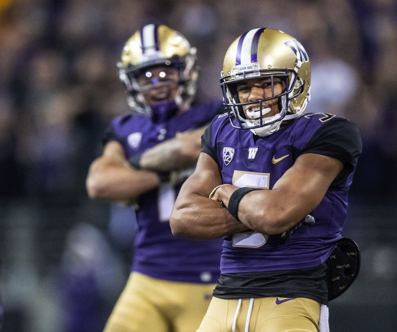 Washington's Myles Bryant celebrates against BYU in September. (Dean Rutz / The Seattle Times)