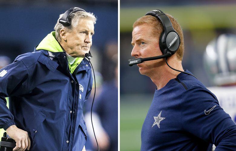 Seahawks coach Pete Carroll, left, and Cowboys coach Jason Garrett. (Seattle Times/AP photos)