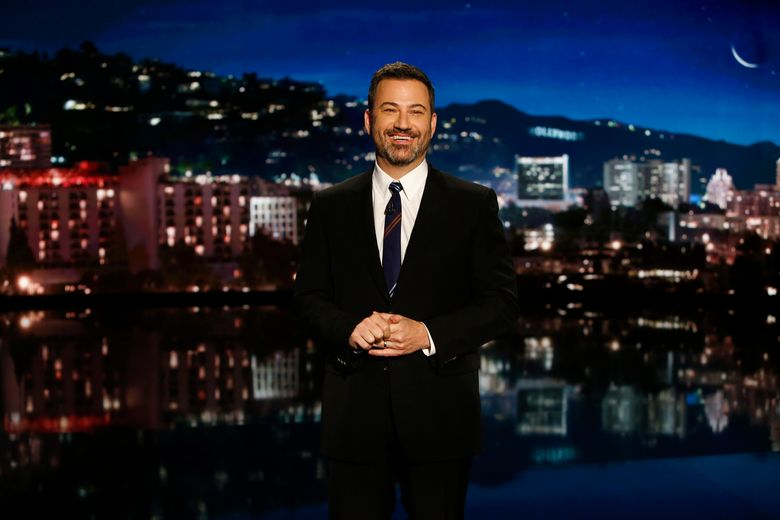Jimmy Kimmel on the set of his late-night show. Kimmel and other late-night hosts — some of President Trump's most vocal critics — jumped at the opportunity to ridicule the president for his border-wall speech. (Randy Holmes, ABC, file)