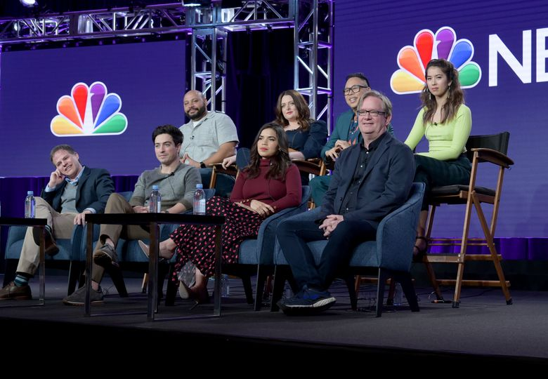 """Executive producer Justin Spitzer, from front row left, Ben Feldman, America Ferrera, Mark McKinney and from back row left, Colton Dunn, Lauren Ash, Nico Santos and Nichole Bloom participate in NBC's """"Superstore"""" panel during the NBCUniversal TCA Winter Press Tour on Tuesday, Jan. 29, 2019, in Pasadena, Calif. (Photo by Richard Shotwell/Invision/AP)"""