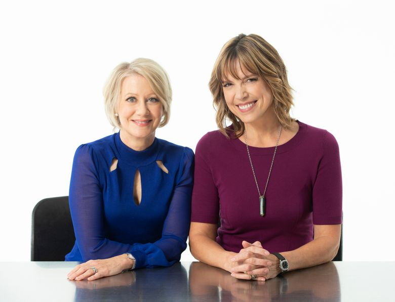 This photo provided by Amazon shows Andrea Kremer, left, and Hannah Storm posing for a portrait at Pier 59 studios on Sept. 21, 2018, in New York. Hannah Storm and Andrea Kremer had so much fun in their first season calling NFL games on Amazon Prime that they are coming back for an encore. Amazon announced Thursday, Jan. 24, 2019,  that the veteran announcing duo will return next season to call the Thursday night package on Amazon's prime video service.  (Amazon via AP)