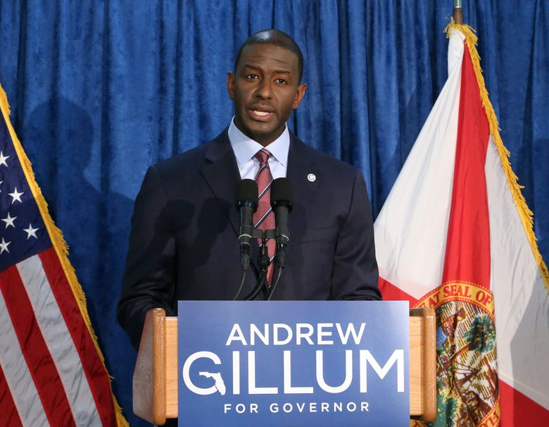 FILE – In this Nov. 10, 2018 file photo, Andrew Gillum the Democrat candidate for governor speaks at a news conference in Tallahassee, Fla.  Gillum is joining CNN as a political commentator. The cable network announced the move Tuesday, Jan. 29, 2019. The former Tallahassee mayor ran for governor last year but narrowly lost to former U.S. Rep. Ron DeSantis. (AP Photo/Steve Cannon, File)