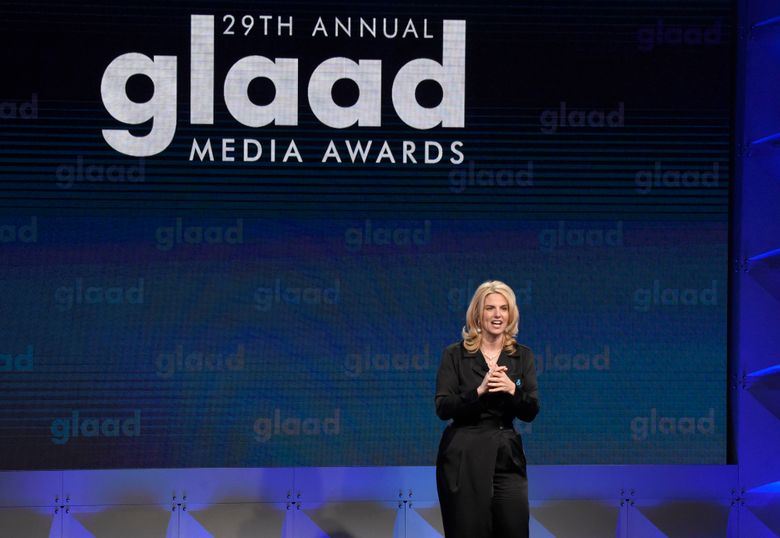 FILE – In this April 12, 2018 file photo, GLAAD President Sarah Kate Ellis speaks at the 29th annual GLAAD Media Awards at the Beverly Hilton Hotel in Beverly Hills, Calif.  GLAAD is honoring video games for the first time during its 30th annual GLAAD Media Awards. The lesbian, gay, bisexual, transgender and queer advocacy group on Friday, Jan. 25, 2019 announced 151 nominees in 27 categories for what the group says are fair, accurate and inclusive representations of LGBTQ people and issues.(Photo by Chris Pizzello/Invision/AP, File)