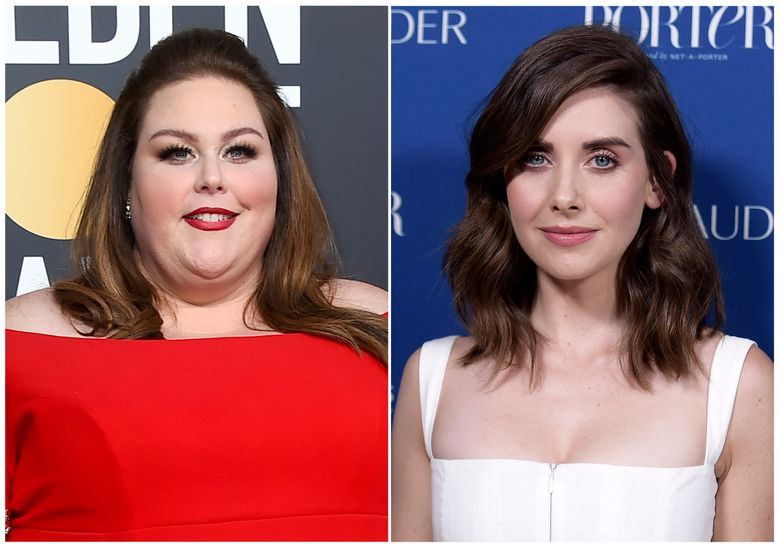 """This combination photo shows Chrissy Metz at the 76th annual Golden Globe Awards in Beverly Hills on Jan. 6, 2019, left, and Alison Brie at Porter's 3rd Annual Incredible Women Gala in Los Angeles on Oct. 9, 2018. Metz denied a report that she insulted  Brie during an interview on the Golden Globes red carpet. The """"This Is Us"""" star wrote on Twitter Sunday night during the Globes broadcast that a story claiming that Metz used a curse word to describe Brie was """"completely fabricated."""" She wrote that she adores Brie and would never say a bad word about her. The clip is of her speaking over footage of Brie and the words are not easily distinguishable. US Weekly later deleted a tweet questioning whether Metz cursed. (AP Photo)"""