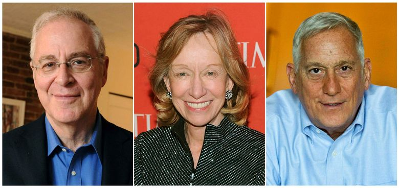 """This combination photo shows authors, from left, Ron Chernow at his home in the Brooklyn borough of New York on April 18, 2011, Doris Kearns Goodwin at the TIME 100 Gala celebrating the """"100 Most Influential People in the World"""" in New York on April 23, 2013 and Walter Isaacson at his home in New York on Oct. 3, 2014.  Chernow, Goodwin and Isaacson will be among the guests on a new television interview program, presented by the New-York Historical Society. The society announced Thursday, Jan. 30, 2019, that """"New-York Historical Society Presents"""" premieres Sunday on WNET.  (AP Photo)"""