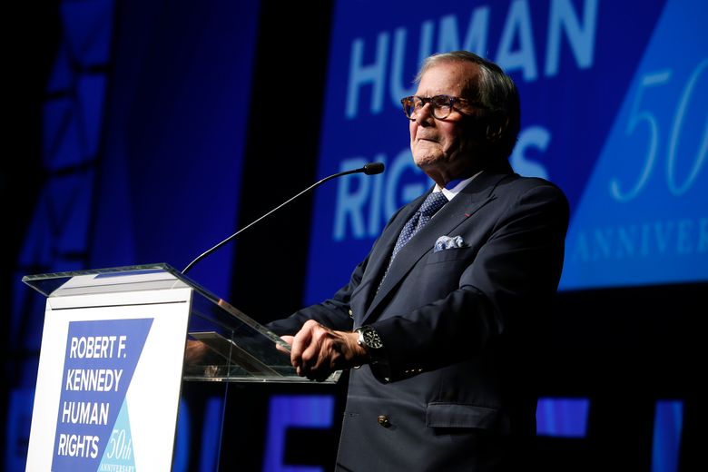 """Journalist Tom Brokaw, shown Dec. 12, says he feels terrible that he offended some Hispanics with his comments on """"Meet the Press"""" Sunday, that Hispanics should work harder at assimilation. (AP Photo/Jason DeCrow, File)"""