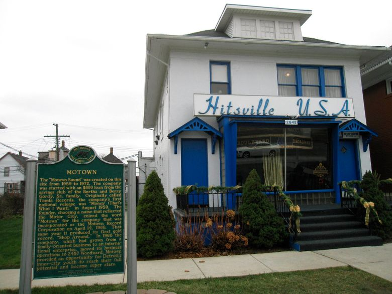 FILE – This Dec. 2, 2014 file photo shows the exterior of the Motown Museum in Detroit. Pieces of Motown's origin story that haven't been seen by the public will go on display in Detroit as part of the label's 60th anniversary celebration. The museum plans to unveil the artifacts Friday afternoon, Jan. 11, 2019, on its Facebook page. The official display will open to the public Saturday at the museum. (AP Photo/Beth J. Harpaz, File)
