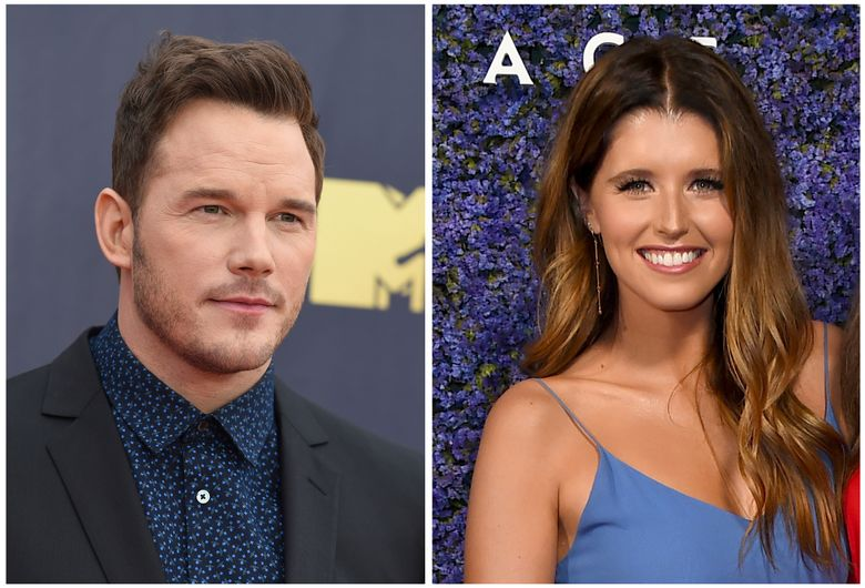 """FILE- This combination of file photos shows Chris Pratt at the MTV Movie and TV Awards on June 16, 2018, in Santa Monica, Calif., left, and Katherine Schwarzenegger at Caruso's Palisades Village opening gala on Sept. 20, 2018, in Los Angeles, right. Pratt posted a photo of the Katherine Schwarzenegger sporting an engagement ring on Instagram Monday, Jan. 14, 2019. He wrote, """"Sweet Katherine, so happy you said yes!"""" There's no word when and where the wedding will take place. (Photo by Jordan Strauss/Invision/AP, File)"""