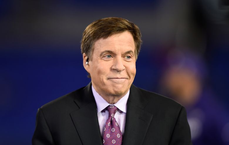 FILE – In this Nov. 10, 2016, file photo, NBC sportscaster Bob Costas appears before an NFL football game between the Baltimore Ravens and the Cleveland Browns, in Baltimore. NBC Sports said Wednesday, Jan. 16, 2019, that Costas parted ways with his longtime employer, providing no further details. (AP Photo/Gail Burton, File)