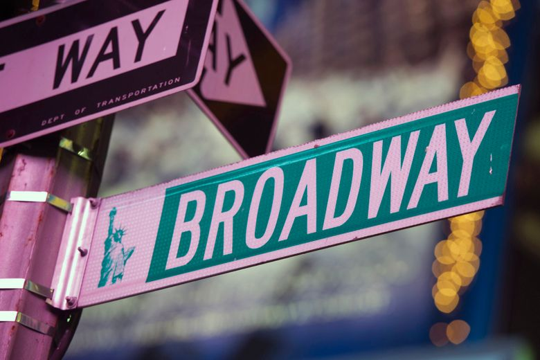 FILE – This Jan. 19, 2012 file photo shows a Broadway street sign in New York.  Fans of show tunes are getting another place to get their fix now that iHeartRadio has launched a Broadway channel and digital hub. iHeartRadio Broadway on Monday started offering streaming music from Broadway shows and a companion website will offer news, videos, interviews and podcasts. (AP Photo/Charles Sykes, File)