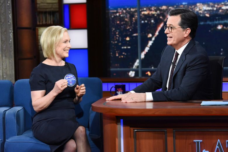 """This image released by CBS shows Sen. Kirsten Gillibrand, D- N.Y. with host Stephen Colbert during a taping of """"The Late Show With Stephen Colbert,"""" Tuesday, Jan. 15, 2019 in New York. The New York Democrat announced that she is forming an exploratory committee to run for President in 2020. (Scott Kowalchyk/CBS via AP)"""