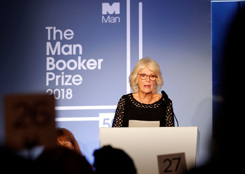 FILE – In this  Tuesday, Oct. 16, 2018 file photo, Britain's Camilla, the Duchess of Cornwall addresses the guests during the Man Booker Prize for Fiction 2018, the prize's 50th year, at the Guildhall in London. Britain's leading literary award, the Man Booker Prize, faces uncertainty after its main financial backer announced it is ending its sponsorship in 2019, almost two decades. (AP Photo/Frank Augstein, Pool)