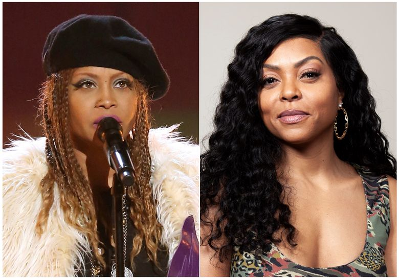 """This combination photo shows Erykah Badu performing at a tribute to Prince at the BET Awards in Los Angeles on June 26, 2016, left, and Taraji P. Henson posing for a portrait in Beverly Hills, Calif., on Nov. 3, 2018. Badu and Henson star together in the upcoming comedy """"What Men Want."""" They say comments online and, in Badu's case, also in concert regarding R. Kelly haven been taken totally out of context. (AP Photo)"""