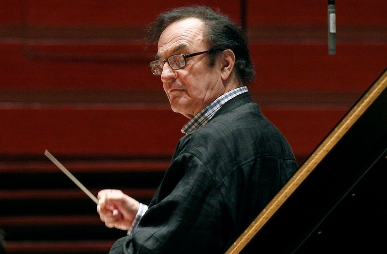 FILE – In this Oct. 19, 2011 file photo, chief conductor Charles Dutoit rehearses with the Philadelphia Orchestra in Philadelphia.   Dutoit, who has faced multiple accusations of sexual assault, will conduct a concert by the National Orchestra of France on Sunday, Feb. 3, 2019. It will be his highest profile performance since the allegations were first revealed. (AP Photo/Alex Brandon, File)