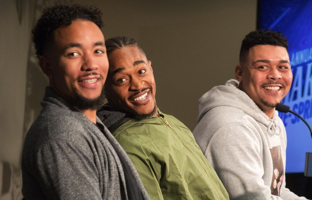 New Mariners players, from left, infielder J.P. Crawford, outfielder Mallex Smith and pitcher Justus Sheffield. (Steve Ringman / The Seattle Times)