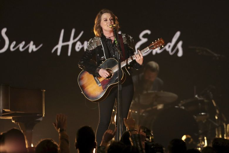 """Brandi Carlile performs """"The Joke"""" at the 61st annual Grammy Awards on Sunday, Feb. 10, 2019, in Los Angeles. (Photo by Matt Sayles/Invision/AP)"""