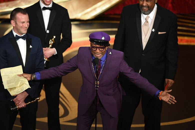 """Spike Lee accepts the Adapted Screenplay award for """"BlacKkKlansman"""" onstage during the 91st Annual Academy Awards at Dolby Theatre in Hollywood on Sunday, Feb. 24, 2019. **FOR USE WITH THIS STORY ONLY**"""