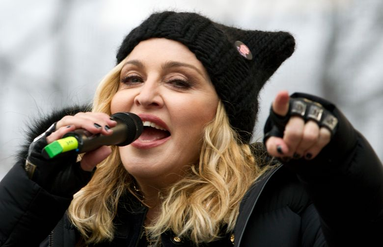 FILE – In this Jan. 21, 2017 file photo, Madonna performs on stage during the Women's March rally in Washington.  Madonna will be honored at the 30th annual GLAAD Media Awards for a lifetime of accelerating acceptance of the LGBTQ community. The lesbian, gay, bisexual, transgender and queer advocacy group on Tuesday, Feb. 5, 2019,  said it will present Madonna with its advocate for change award.   (AP Photo/Jose Luis Magana, File)