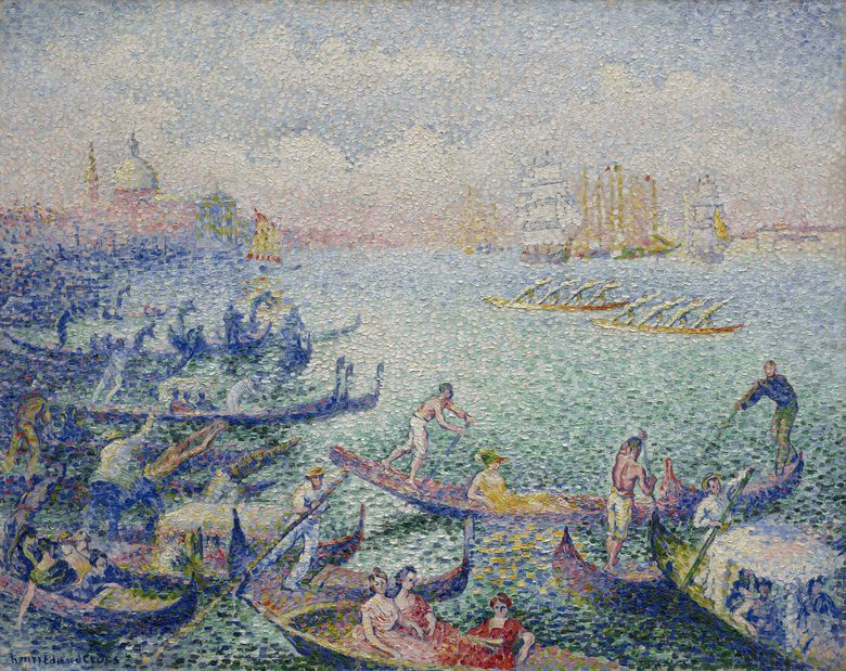 """This image provided by the Museum of Fine Arts, Houston, shows Henri-Edmond Cross' """"Regatta in Venice"""" from 1903/04, which is currently on show at the Barberini Museum in Potsdam, near Berlin. The painting is on loan from the Museum of Fine Arts in Houston. The heirs of a Jewish collector say the painting was stolen from their family by the Nazis, and have filed a legal request for its return, a German newspaper reported Wednesday, Jan. 30, 2019. (Courtesy of Museum of Fine Arts, Houston via AP)"""