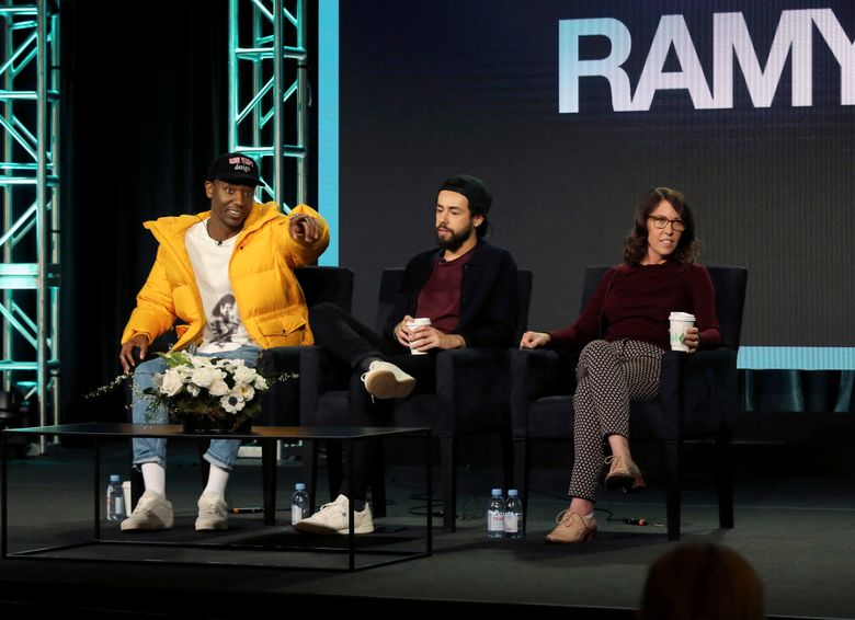 """FILE – In this Feb. 11, 2019 file photo, Jerrod Carmichael, from left, Ramy Youssef and Bridget Bedard participate in the """"Ramy"""" panel during the Hulu presentation at the Television Critics Association Winter Press Tour in Pasadena, Calif. Carmichael lamented what he called the """"terrible"""" state of TV comedy, asked his audience if they'd seen some of it.  (Photo by Willy Sanjuan/Invision/AP, File)"""