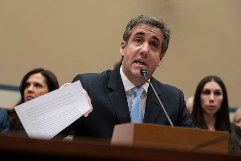 FILE – In this Wednesday, Feb. 27, 2019 file photo, Michael Cohen, President Donald Trump's former personal lawyer, reads an opening statement as he testifies before the House Oversight and Reform Committee on Capitol Hill in Washington. Cohen says he's cooperating with federal prosecutors in New York and hopes to receive a so-called Rule 35 motion from prosecutors that would reduce the time he is to spend in prison. (AP Photo/J. Scott Applewhite, File)