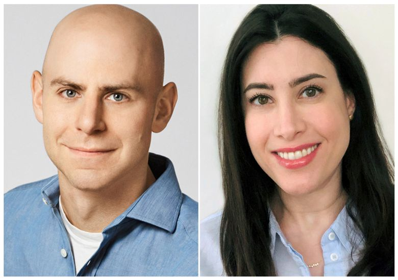 """This combination of images released by Dial Books for Young Readers shows Psychologist and best-selling author Adam Grant, left, and his wife Allison Sweet Grant, who have teamed with illustrator Diana Schoenbrun for the upcoming """"The Gift Inside the Box,"""" expected in October. (Dial Books for Young Readers via AP)"""