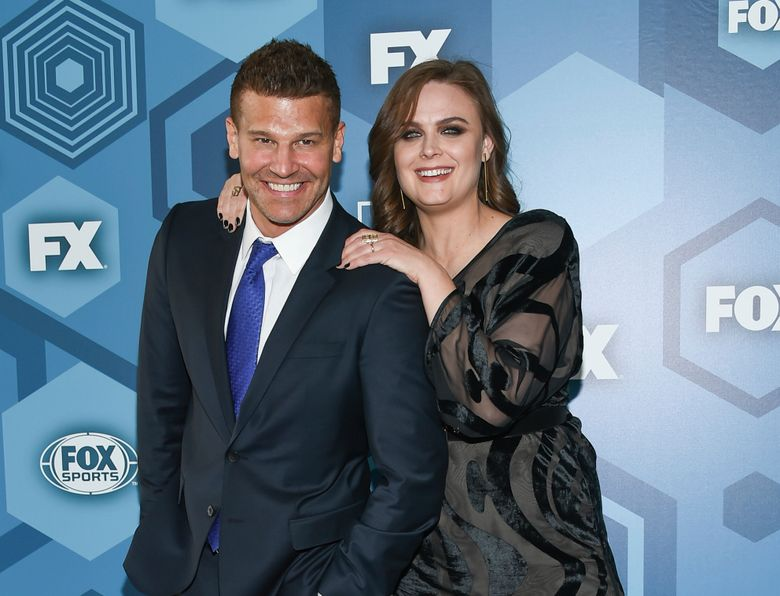 """FILE – In this May 16, 2016 file photo, David Boreanaz and Emily Deschanel attend the FOX Networks 2016 Upfront Presentation Party in New York. An arbitrator has ordered 21st Century Fox to pay $179 million in a dispute over profits with the stars of the long-running Fox TV show """"Bones."""" Boreanaz and Deschanel, the stars of """"Bones"""" from 2005 through 2017, sued Fox in 2015, saying it denied them profits by licensing the show to Fox's TV division and to Hulu for below-market rates. (Photo by Evan Agostini/Invision/AP, File)"""