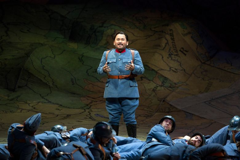 """This image released by the Metropolitan Opera shows tenor Javier Camarena rehearsing his aria with nine high C's as Tonio in Donizetti's """"The Daughter of the Regiment"""" at the Metropolitan Opera in New York. (Marty Sohl/Metropolitan Opera via AP)"""