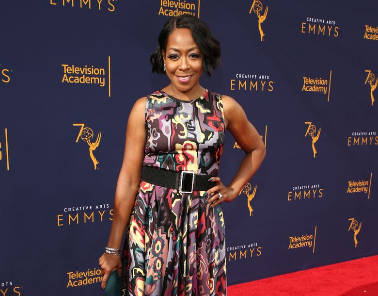 """FILE – In this Sept. 8, 2018 file photo, Tichina Arnold arrives at the Television Academy's 2018 Creative Arts Emmy Awards in Los Angeles. Arnold stars in the CBS comedy series """"The Neighborhood."""" (Photo by John Salangsang/Invision/AP, File)"""