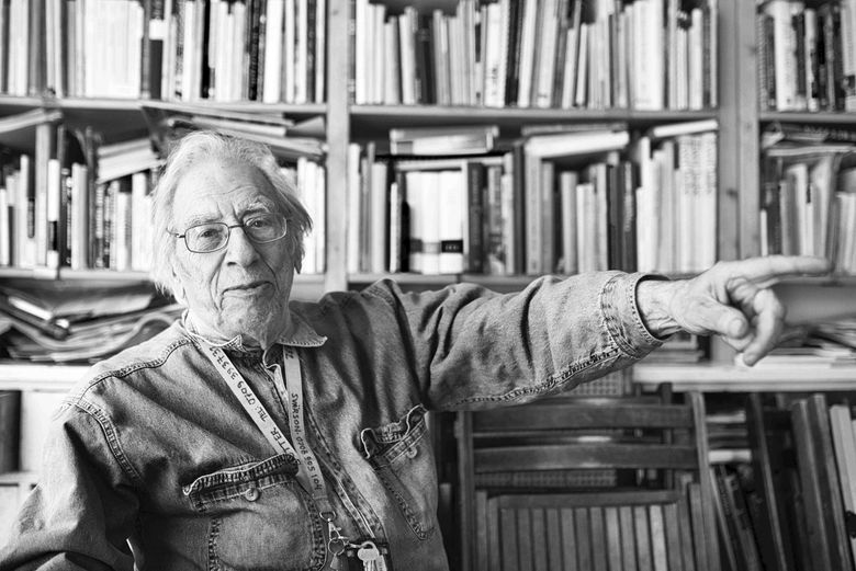 """This undated handout photo shows Izzy Young in Sweden. Izzy Young, who in 1961 organized the first New York concert by Bob Dylan and devoted decades of his life supporting folk music, has died at age 90 in Sweden it was announced Wednesday, Feb. 6, 2019. Young was a big name in folk music _ Dylan, a regular visitor at his New York music shop, the Folklore Center, once called it """"the citadel of Americana folk music."""" Young moved to Sweden in 1973 and reopened his store there. (Markus Adler via AP)"""