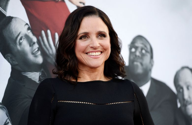 """FILE – In this May 25, 2017, file photo, Julia Louis-Dreyfus, a cast member in the HBO series """"Veep,"""" poses at an Emmy For Your Consideration event for the show at the Television Academy in Los Angeles. 'Veep' star Julia Louis-Dreyfus doesn't know who she will support for president, but is sure she'll be opposing President Donald Trump. She called him a pretend president. Louis-Dreyfus' 'Veep' character is now a former president, and begins its last season on March 21, 2019 (Photo by Chris Pizzello/Invision/AP, File)"""