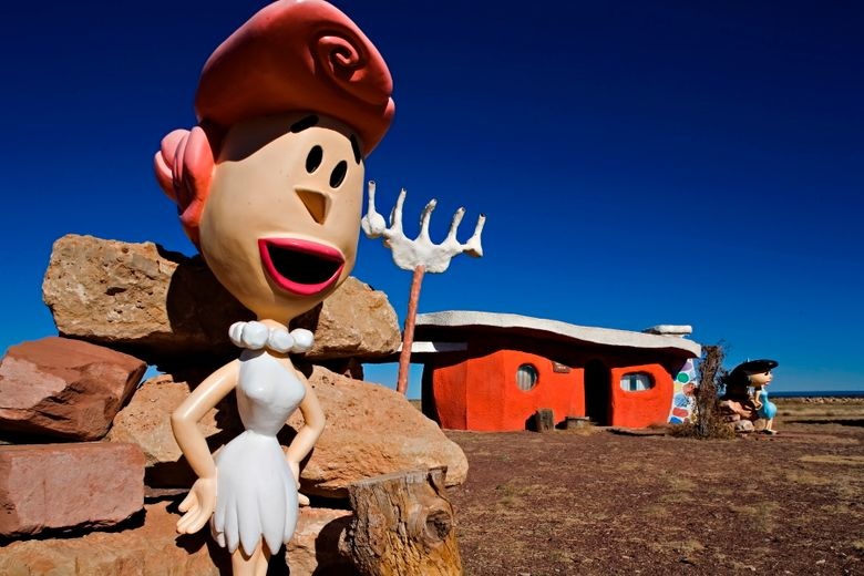 A Wilma Flintstone figure is seen at the Flintstones Bedrock City theme park near Williams, Ariz. The theme park near the Grand Canyon will become Raptor Ranch: Birds of Prey park, a showcase for falconry.  (Richard Maack via AP, 2008)
