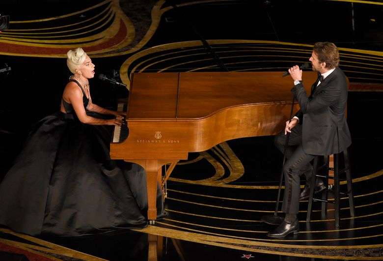 """Lady Gaga, left, and Bradley Cooper perform """"Shallow"""" from """"A Star is Born"""" at the Oscars on Sunday, Feb. 24, 2019, at the Dolby Theatre in Los Angeles. (Photo by Chris Pizzello/Invision/AP)"""