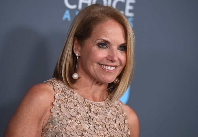 """Katie Couric, seen in 2018, became the first woman to guest host """"Jeopardy!"""" She made her debut Monday after repeat champion Ken Jennings and executive producer Mike Richards initially took over for the late Alex Trebek. (Jordan Strauss / Invision / AP, file)"""