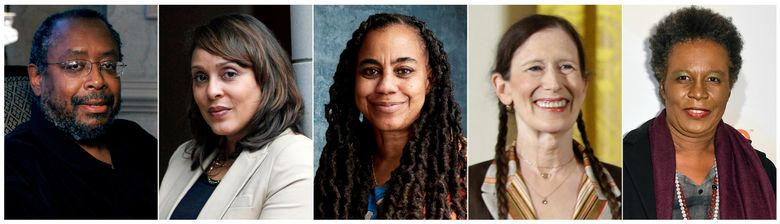 This combination of photos shows, from left, Pulitzer prize-winning author Edward P. Jones, U.S. Poet Laureate Natasha Trethewey, author Suzan-Lori Parks, composer, singer, and performer Meredith Monk and poet-playwright  Claudia Rankine, who are among the newest inductees into the American Academy of Arts and Letters. (AP Photo)