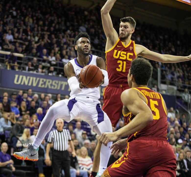 Washington's Jaylen Nowell gets the benefit of the roll off the rim for this shot in the first half against USC in men's Pac-12 basketball on January 30, 2019 at Alaska Airlines Arena in Seattle. (Dean Rutz / The Seattle Times)