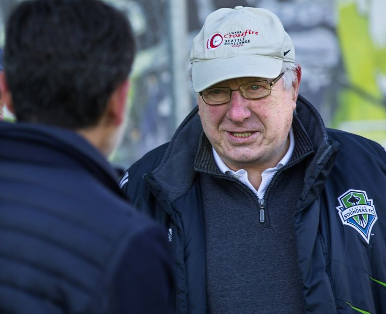 Former Sounders coach Alan Hinton, pictured in 2016, is now a soccer ambassador with the Major League Soccer version of the franchise. Hinton, 76, a board member of the non-profit Washington State Legends of Soccer group, has agreed to a roast next week to raise money for the group's research and scholarship funding efforts. (Mike Siegel / The Seattle Times)
