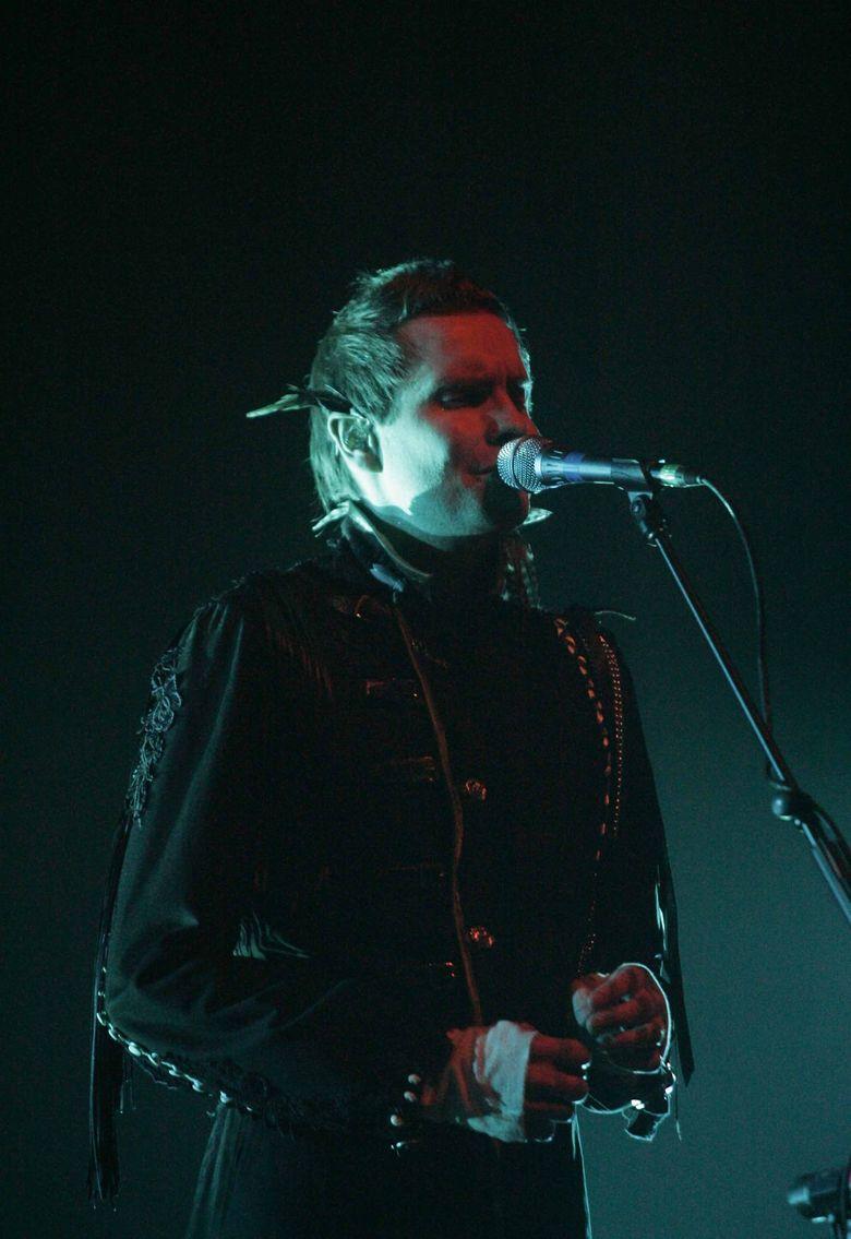 Sigur Ros lead singer Jon Thor Birgisson performs  at Benaroya Hall in 2008. (Erika Schultz / The Seattle Times)