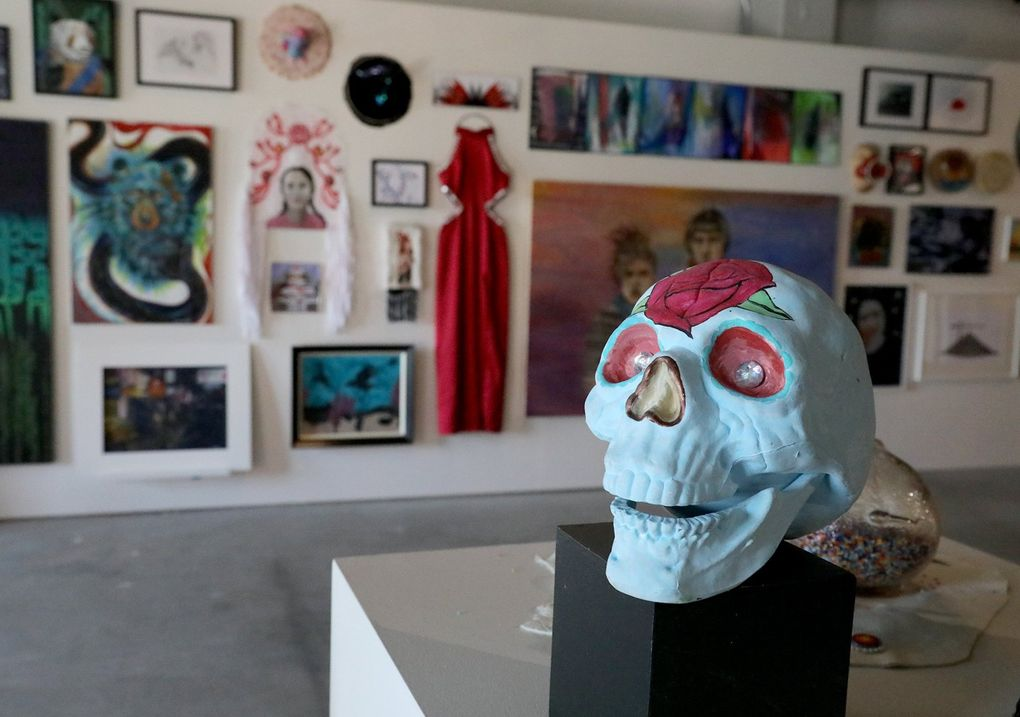 """Artist Adria Bennett's piece, """"All The Beauty of My Mind,"""" is on display at the inaugural art exhibit at ARTS at King Street Station. (Greg Gilbert / The Seattle Times)"""