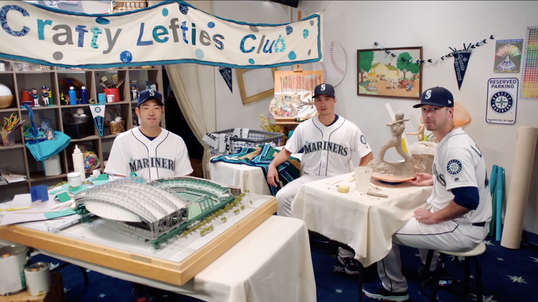 """Screengrab from  """"Arts and Crafty,"""" featuring from left to right: Yusei Kikuchi, Marco Gonzales and Wade LeBlanc. (Courtesy of / Seattle Mariners)"""