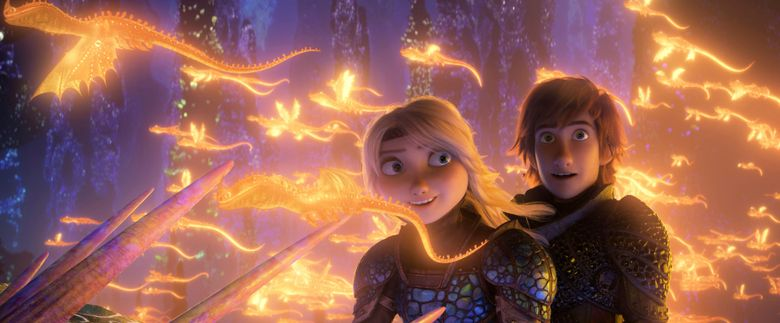 """This image released by Universal Pictures shows characters Astrid, voiced by America Ferrera, left, and Hiccup, voiced by Jay Baruchel, in a scene from DreamWorks Animation's """"How to Train Your Dragon: The Hidden World."""" (DreamWorks Animation/Universal Pictures via AP)"""