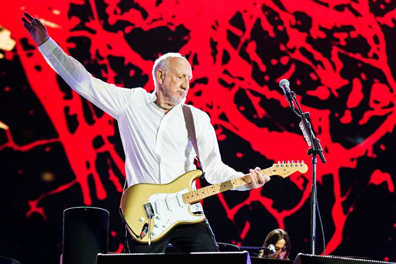 """FILE – In this July 13, 2017, file photo, Pete Townshend of The Who performs during the Festival d'ete de Quebec in Quebec City, Canada. Townshend, the man who helped invent the rock opera, has now written a rock novel. Hachette Books announced Tuesday, March 5, 2019 that the British composer-guitarist's """"The Age of Anxiety"""" was scheduled for Nov. 5. Set in London, the novel takes on the torments of creativity and the music business and """"deals with mythic and operatic themes including a maze, divine madness, and long-lost children."""" (Photo by Amy Harris/Invision/AP, File)"""