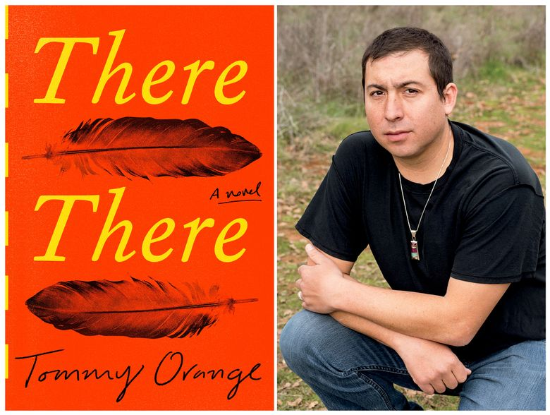 """This combination photo shows a cover image of the novel """"There There,"""" by Tommy Orange, left, and a portrait of Orange. The most honored literary debut of 2018, has received the PEN/Hemingway award for distinguished new novel.  Orange will receive $25,000, along with a month-long fellowship at the Ucross Foundation in Wyoming. (Knopf, left, and Elena Seibert via AP)"""