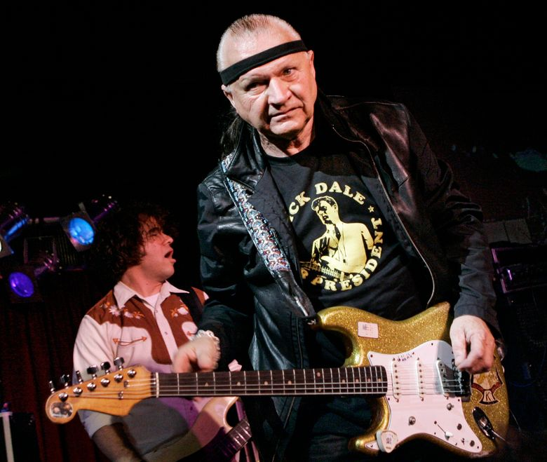 """Dick Dale, known as """"The King of the Surf Guitar,"""" performs May 27, 2007, at B.B. King Blues Club in New York. Dale has died at age 81. His former bassist Sam Bolle says Dale passed away Saturday night, March 16, 2019. (AP Photo/Richard Drew, File)"""