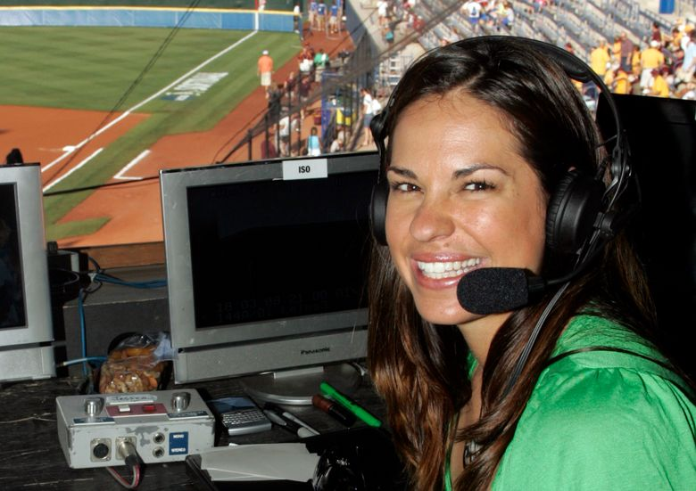 """FILE – In this May 29, 2009, file photo, USA softball player Jessica Mendoza poses for a photo in the ESPN broadcast booth at the Women's College World Series in Oklahoma City. Mendoza has been hired as a baseball operations adviser for the New York Mets while remaining a broadcaster for ESPN's """"Sunday Night Baseball."""" The move, announced Tuesday, March 5, 2019, is part of an increasing number of television commentators who also work for teams. (AP Photo/File)"""