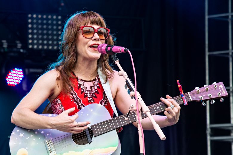 """FILE – This July 14, 2018 file photo shows Jenny Lewis performing at the Forecastle Music Festival in Louisville, Ky. Lewis' latest album, """"On the Line"""" will be released on Friday. (Photo by Amy Harris/Invision/AP, File)"""