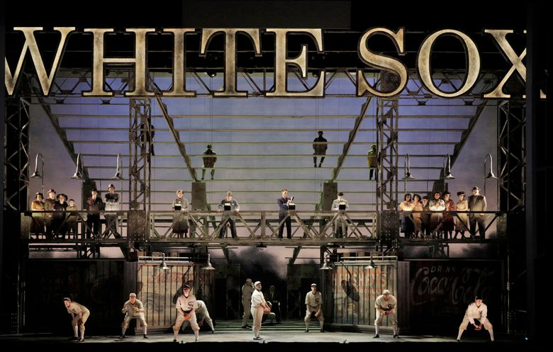 """This image released by the Minnesota Opera shows the cast during the world premiere of """"The Fix,"""" at the Ordway Center for the Performing Arts in St. Paul, Minn. Joel Puckett composed """"The Fix"""" about the Chicago Black Sox agreeing to throw the 1919 World Series, a work that premieres Saturday at the Minnesota Opera. (Cory Weaver/Minnesota Opera via AP)"""