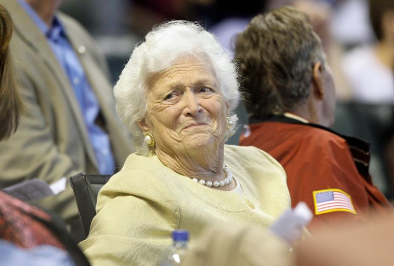 """FILE- This April 18, 2009 file photo shows former first lady Barbara Bush during the third inning of a Major League Baseball game in Houston.  In excepts of an upcoming biography, """"The Matriarch,"""" published Wednesday, March 27, 2019,  in USA Today, the former first lady discussed how her trouble with congestive heart failure and chronic pulmonary disease were aggravated by Trump's attacks on her son, Jeb, during the Republican presidential primaries.  Bush was 92 when she died in April 2018.  (AP Photo/David J. Phillip, File)"""