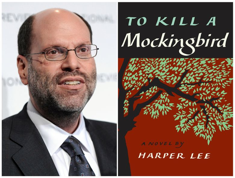 """FILE – This combination photo shows Hollywood and Broadway producer Scott Rudin at The National Board of Review Motion Pictures awards gala in New York on Jan. 11, 2011, left, and the cover of Harper Lee's """"To Kill a Mockingbird.""""  Rudin  is offering a compromise to community and nonprofit theaters that were forced to abandon productions of the play under legal threat. In a statement provided Saturday, March 2, 2019 to The Associated Press, Rudin said the theaters are being offered the right to perform writer Aaron Sorkin's version of the play now on stage in New York. Rudin hopes this makes up for the """"hurt"""" suffered by theater companies that were told to cancel what he called improperly licensed productions.(AP Photo/Evan Agostini, File)"""